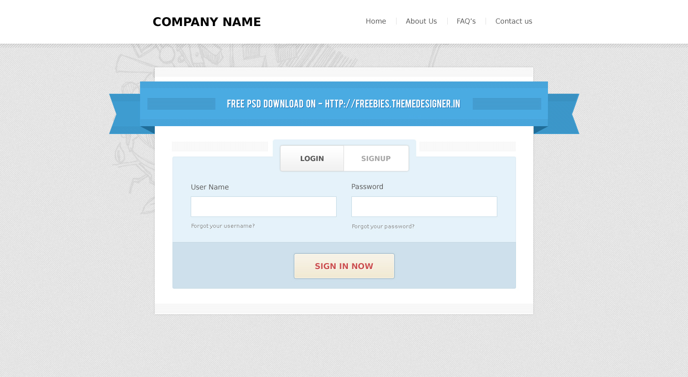 Amazing Login and SignUp FREE PSD by themedesigner