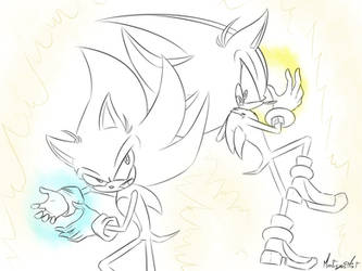 Sketch PC | Super Sonic and Shadow Broly by MysteryMysticMist