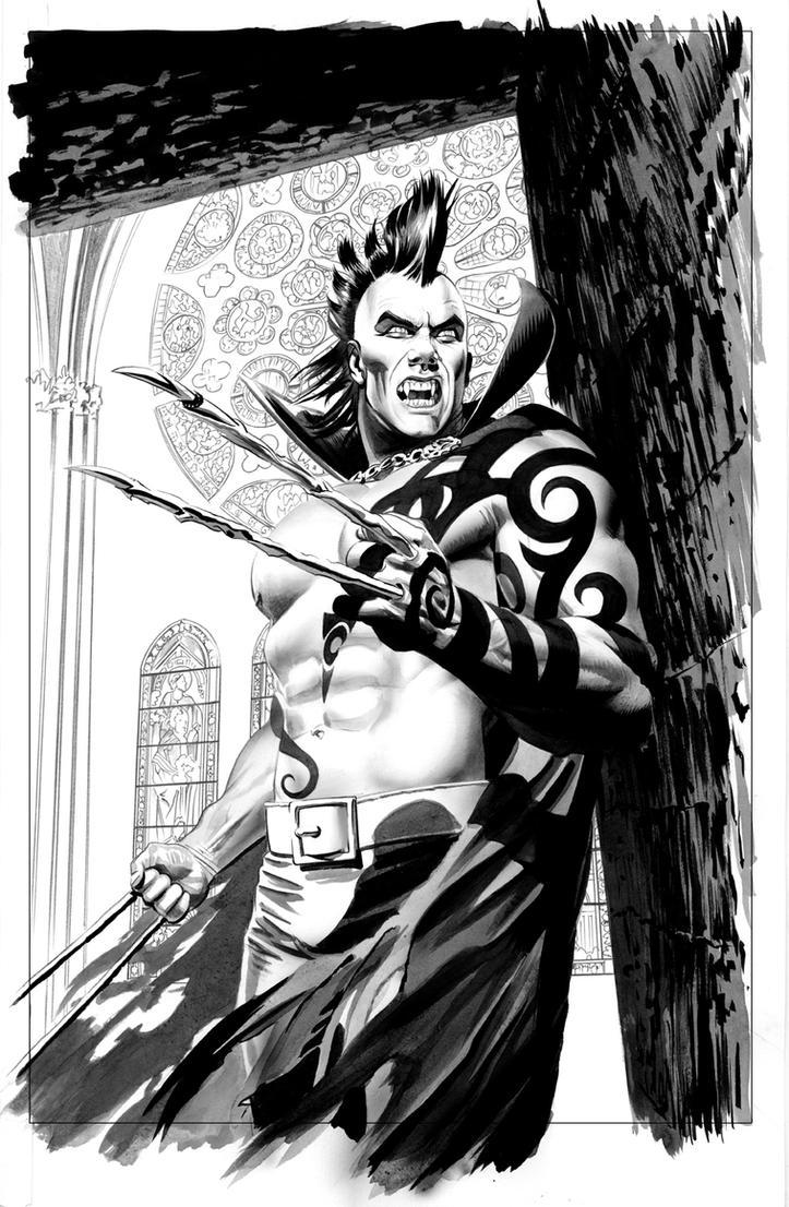 Dark Wolverine 2 Vampire B-W by mikemayhew
