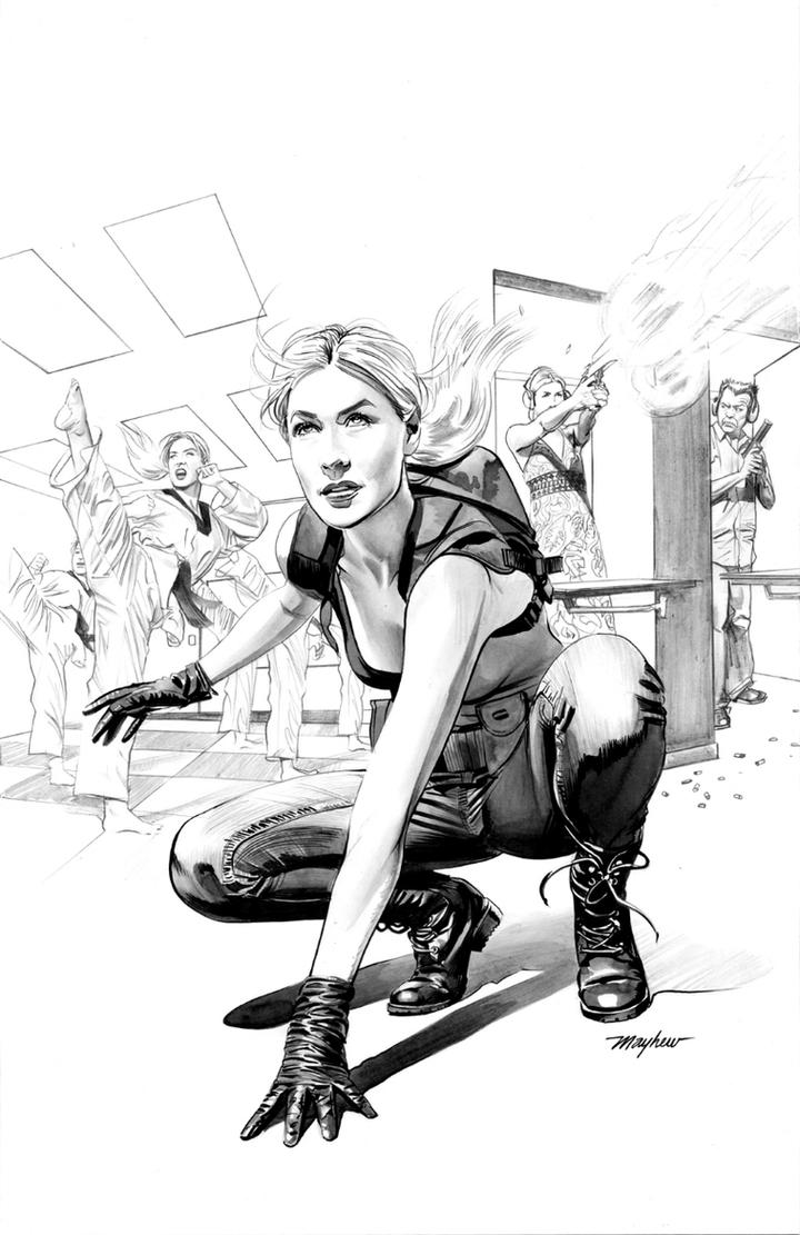 JENNIFER BLOOD: FIRST BLOOD #1 Cover B*W Art by mikemayhew