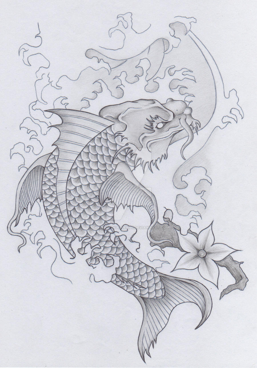 Image gallery koi dragon tattoo drawings for Koi dragon meaning