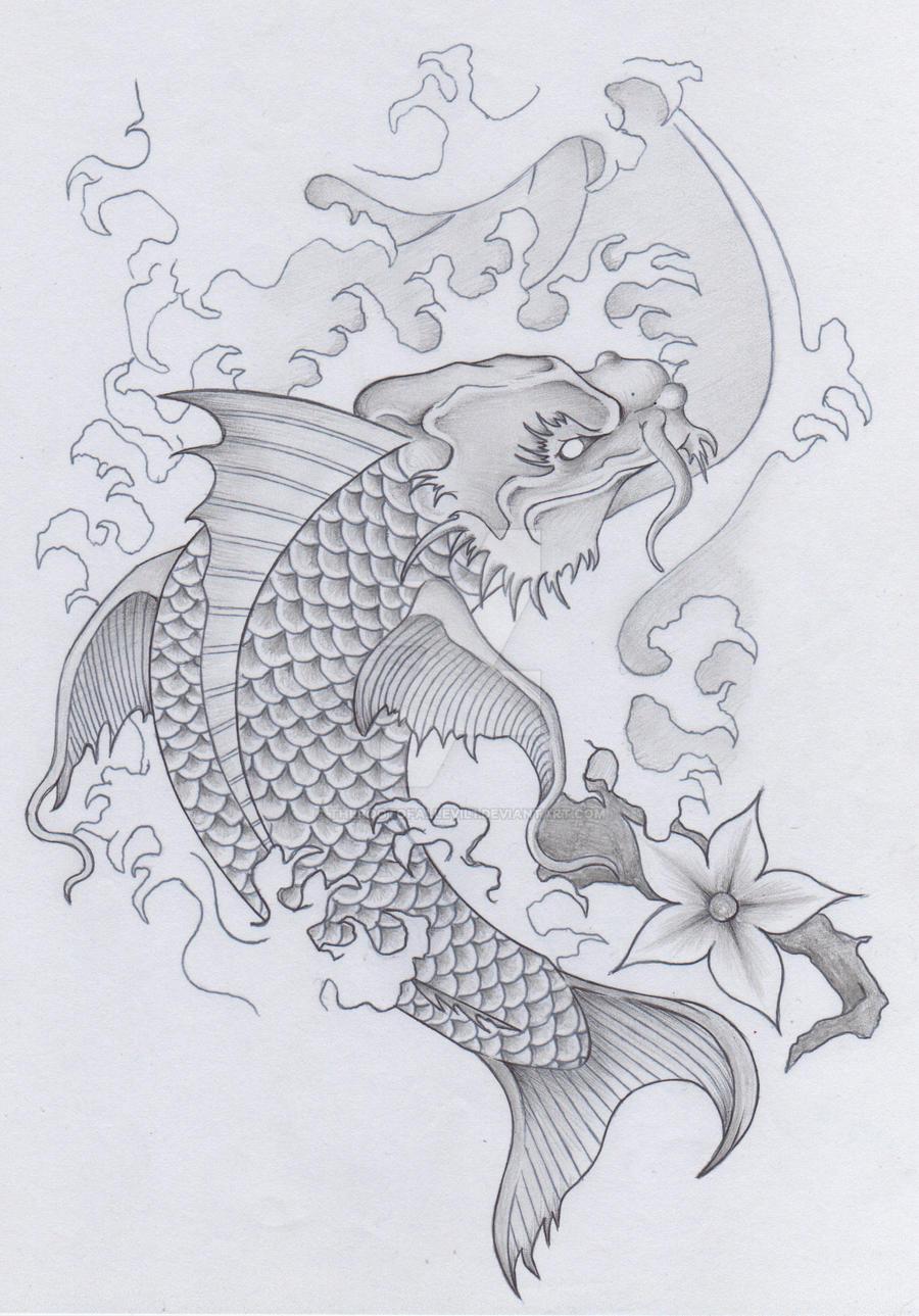 japanese koi dragon tattoo skull samurai pt 2 by therootofallevil1 on deviantart. Black Bedroom Furniture Sets. Home Design Ideas