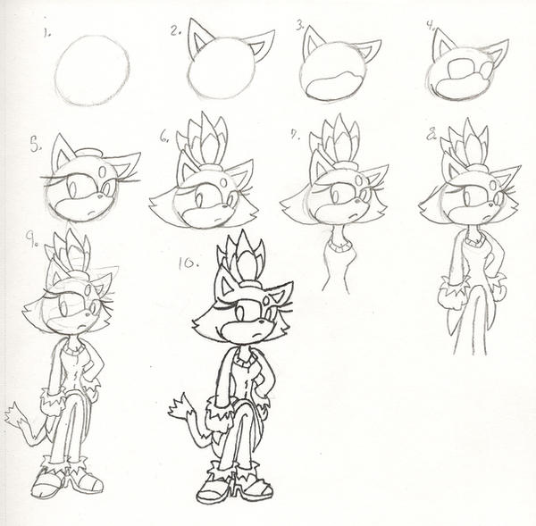 how to draw blaze the cat step by step