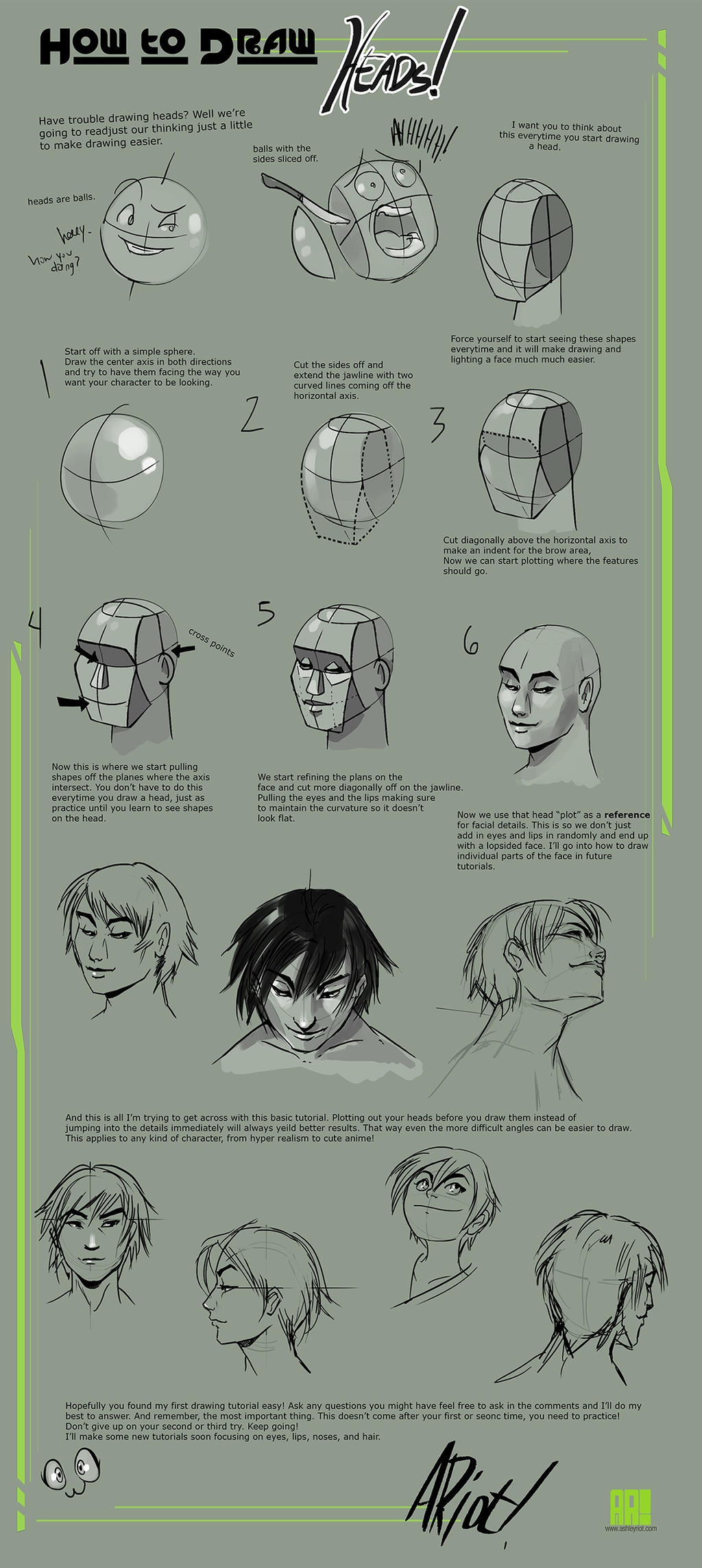 How to draw Heads by JocelynAda