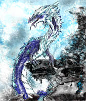 Dragon on a mountain by Decadia