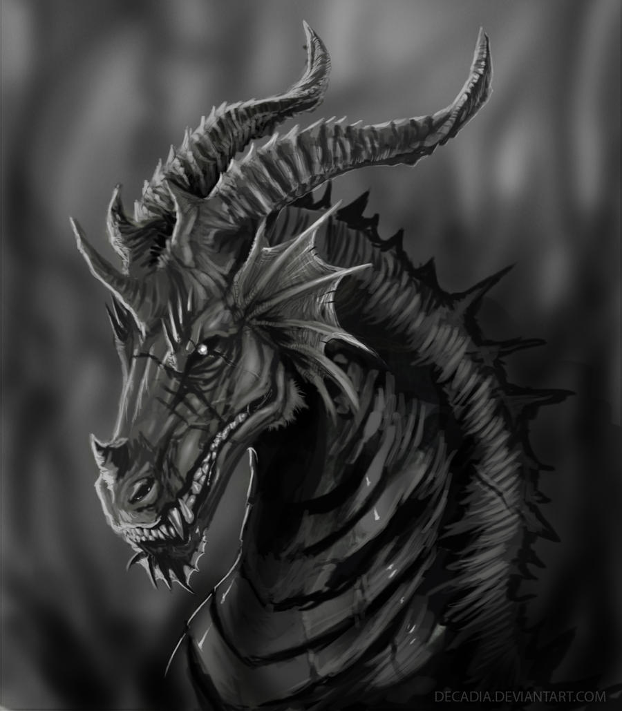 Dark dragon by decadia on deviantart for Cool fantasy drawings