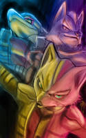Fox Wolf and Falco by Decadia