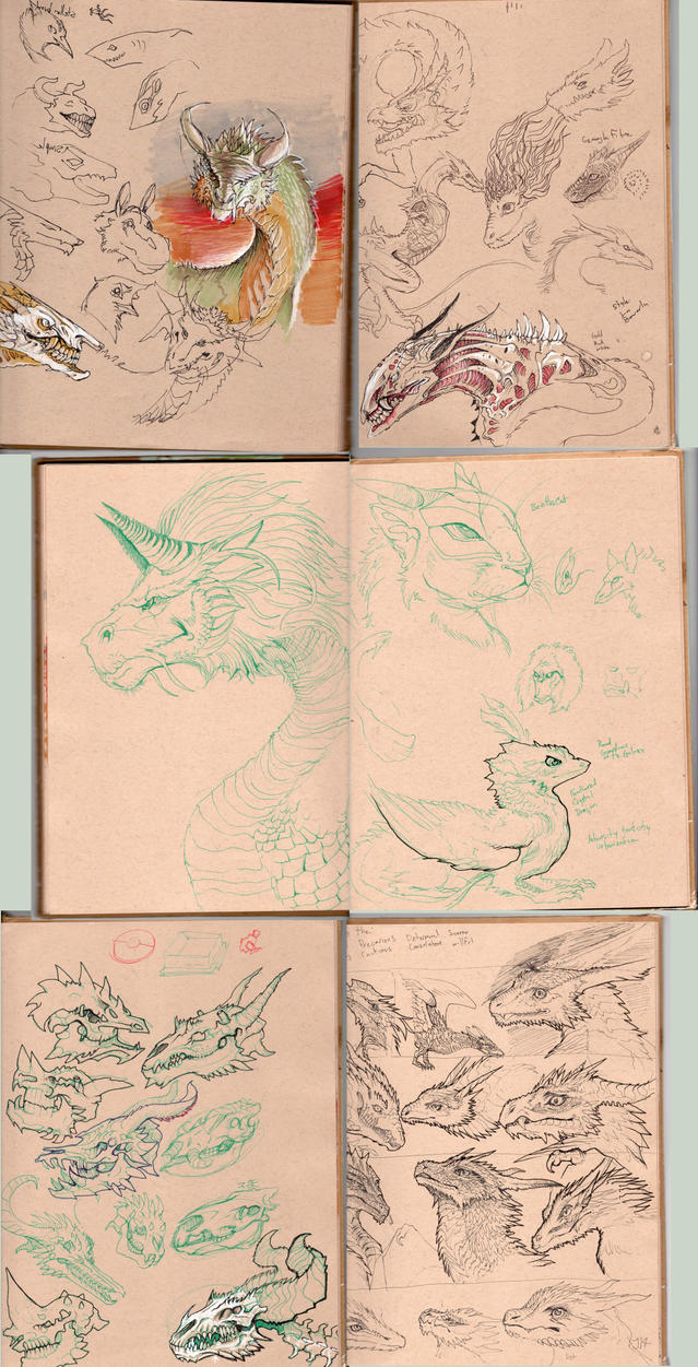 Mostly Dragon Sketches - I by Decadia