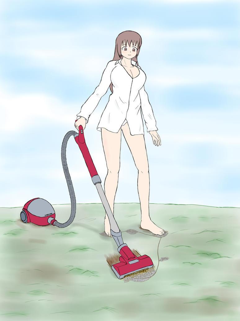 vacuuming girl by yamumil