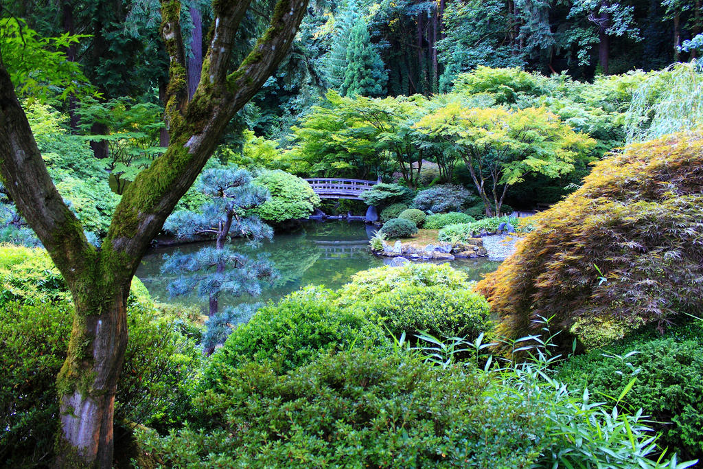 Zen garden pond and bridge by celem on deviantart for Garden pool zen area