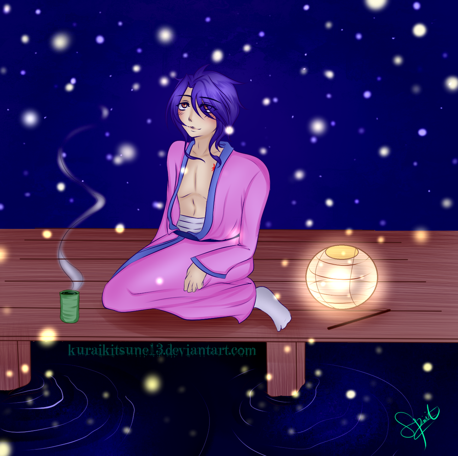Fireflies Contest: Nuriko, the Night and Fireflies by kuraikitsune13