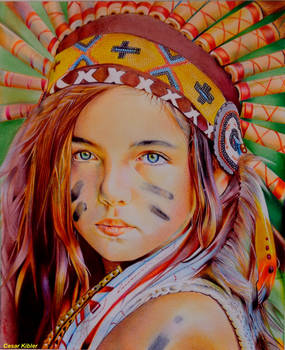 Native American girl / 100% Colored Ballpoint pens