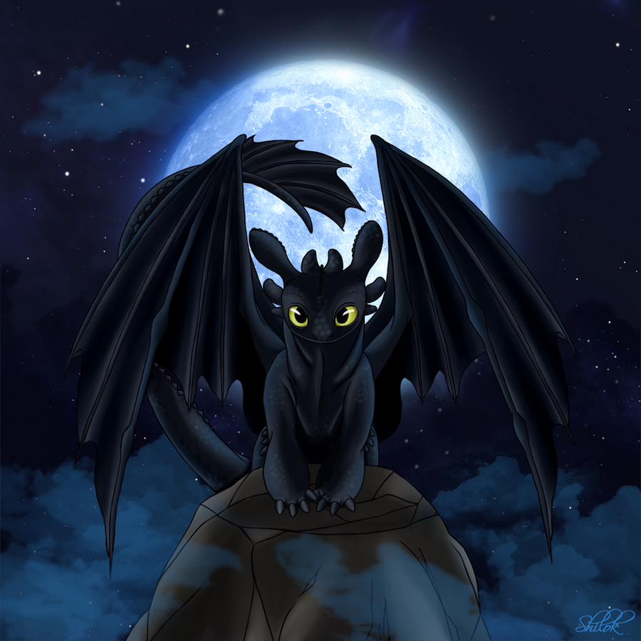 Toothless Wallpaper: Toothless At Night By Shilokh On DeviantArt