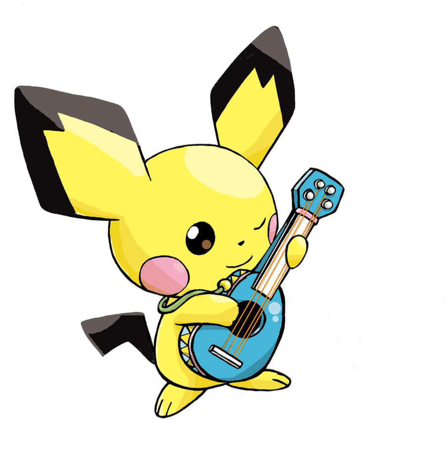 Cute Baby Pikachu Coloring Pages Playing An Instrument