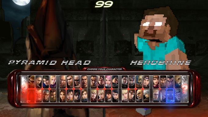 Minecraft Herobrine Vs Steve Pyramid head vs. herobrine by