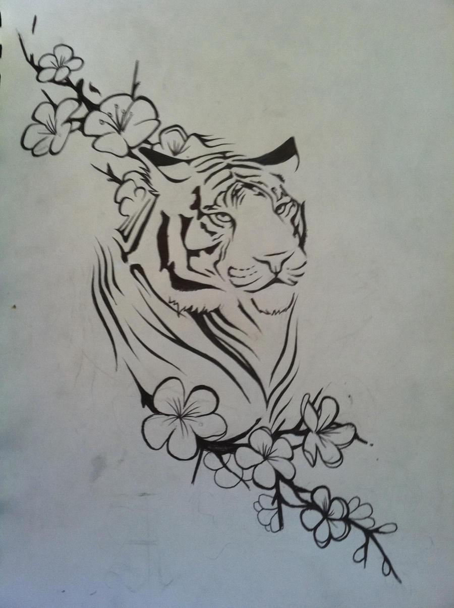 Тату тигр для девушки эскизы