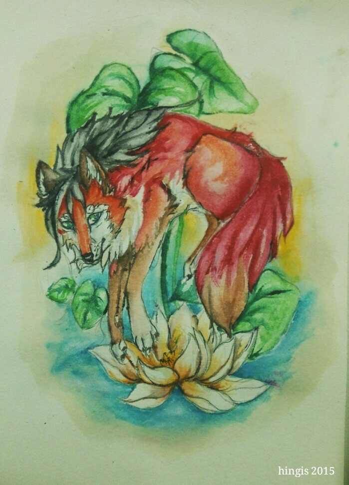 Fox and Lotus by Hinglose