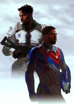 Human Optimus and Megatron (Killmonger - Tchalla)