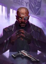 Nick Fury as Shockwave by Naihaan