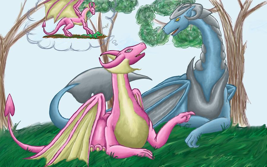 Pink And Guardian Dragon by kristhasirah