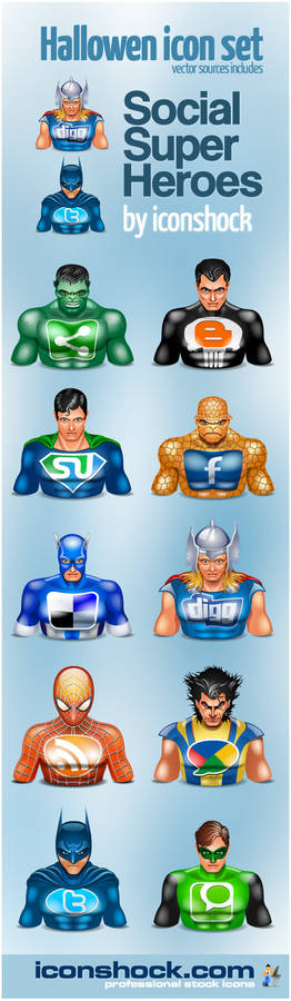 Halloween Icons social heroes