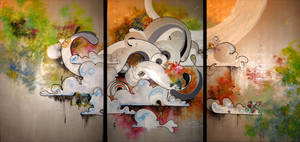Brain Clouds Triptych by paperboogie