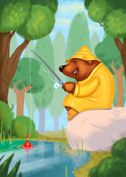 Mr. Bear And The Fishing Rod