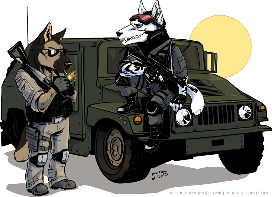 Chibi millitary dogs by m-u-h-a