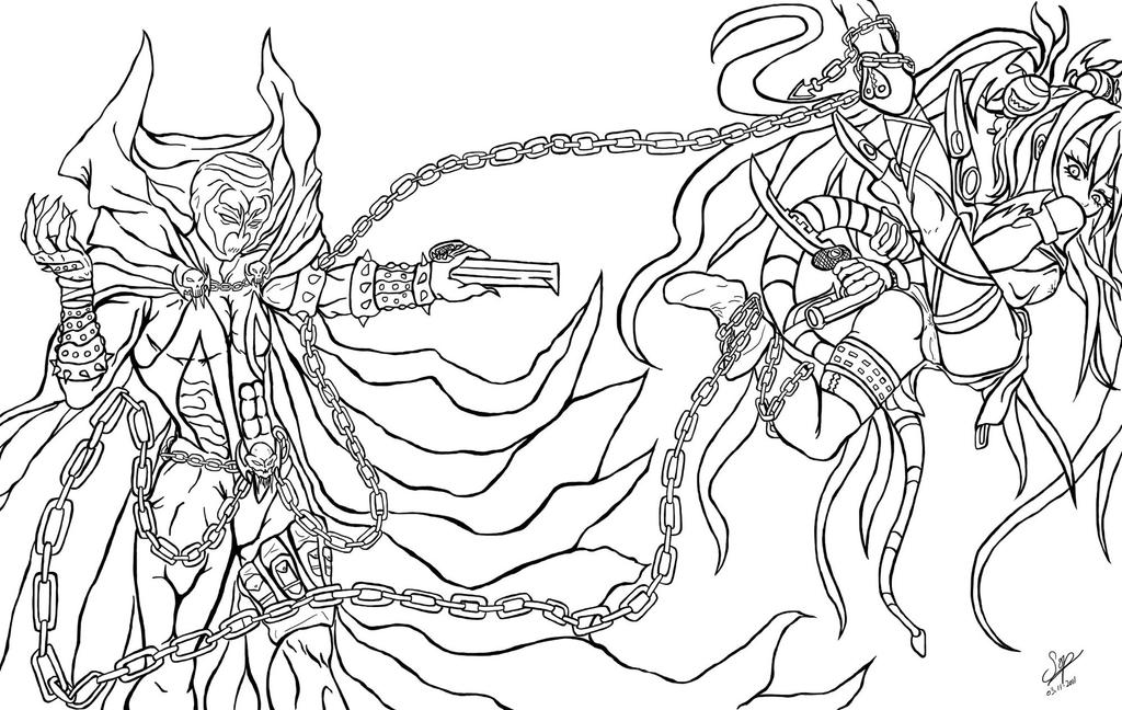 Cross over theme spawn vs alice la by sop sama on for Spawn coloring pages