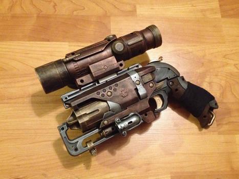 Steampunk Nerf Hammershot pistol with Scope