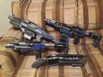 Space Marine Blue Militia weaponry set