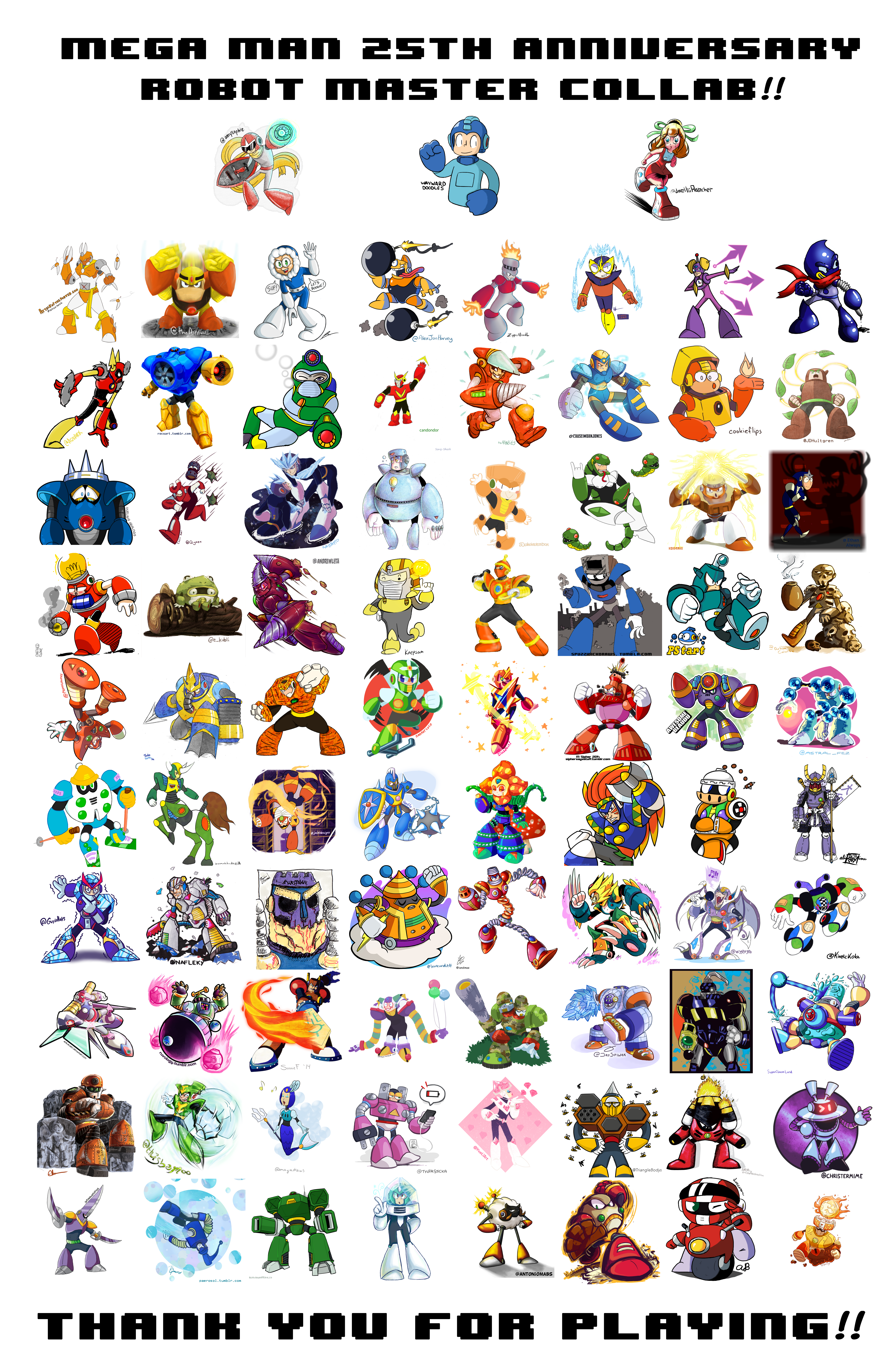 Mega Man 25th Anniversary Robot Master Collab by WaywardDoodles