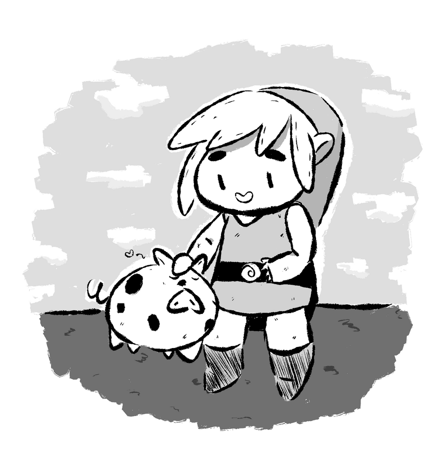 A boy and his pig by WaywardDoodles