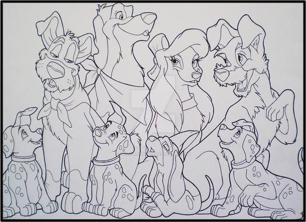 Line Art Disney : Disney s dogs lineart by michellewalker on deviantart