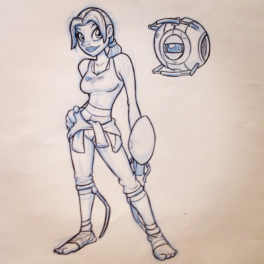 Chell and Wheatley by ryanhuertas