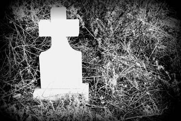 Black and White Headstone