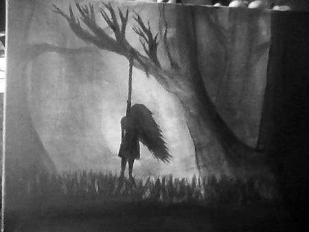 Just A Girl Hanging Herself Of A Tree By