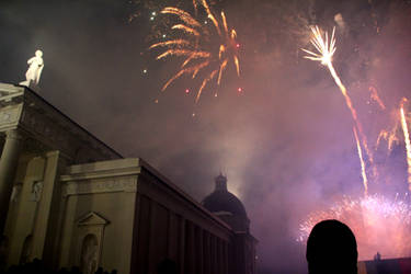 Fireworks on 16th of February in Lithuania,Vilnius by Lazysnow