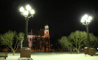 Vilnius in winter's night by Lazysnow