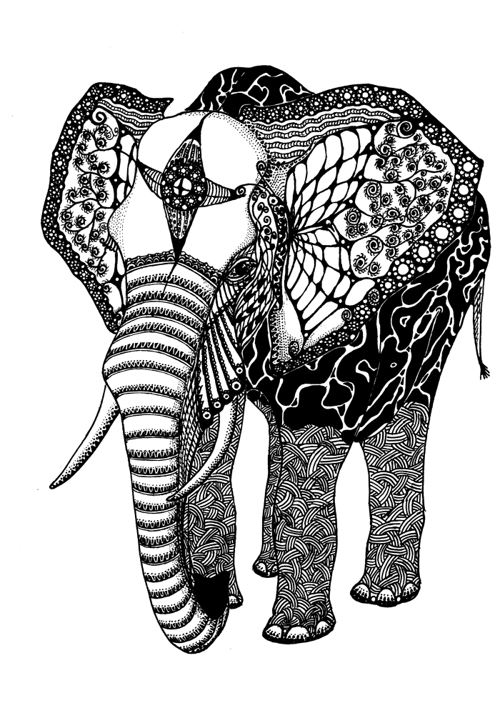 Download Elephant Coloring Pages For Adults | 998x700