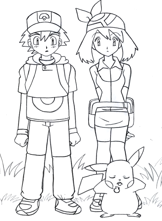 Ash may and pikachu pokemon by sidselc on deviantart for Ash and pikachu coloring pages