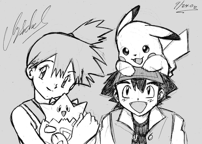 Ash and Misty, Pikachu and Togepi [Pokemon]