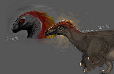 Raptor Art Improvement (5 years difference) by SquishyMew