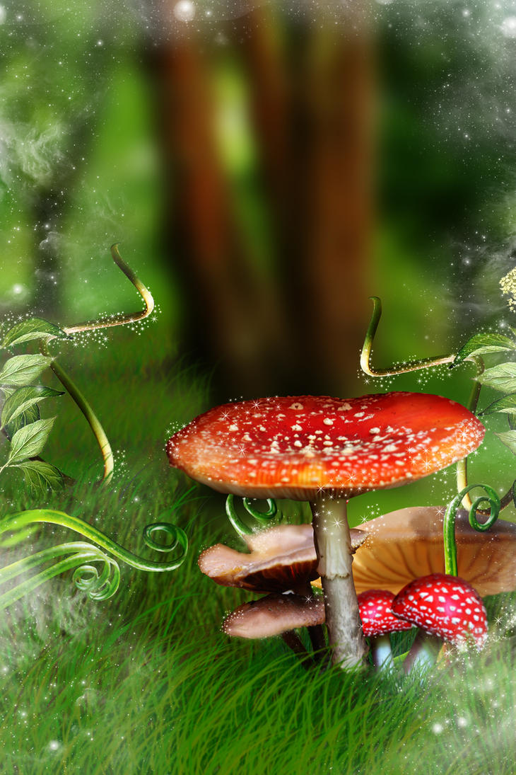 Toadstool Woodland background by JulieLangford