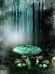 Blue Mushroom forest