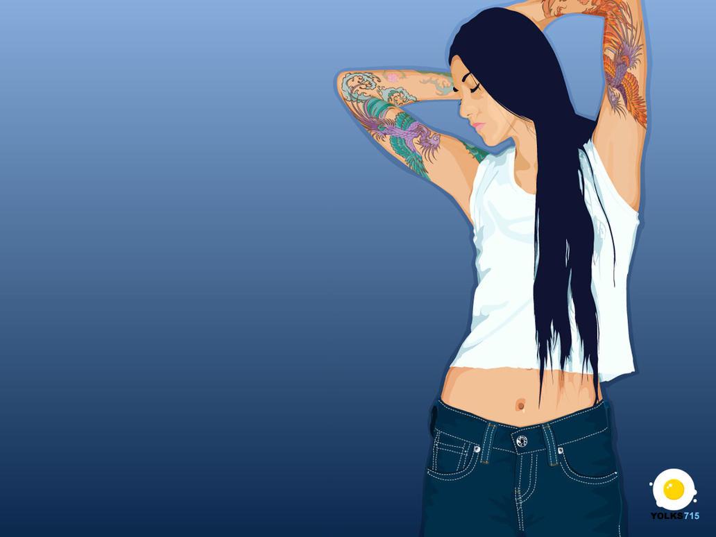 Wallpaper03 - Tattoo Girl by yolks
