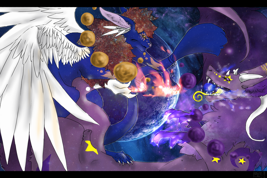 Intergalactic Battle, sun against the moon by MaskedOwl