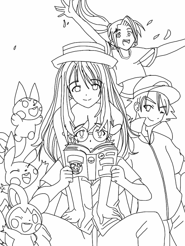 pokemon coloring pages xy - lineart pokemon x and y anime cast older by the thousand master on deviantart