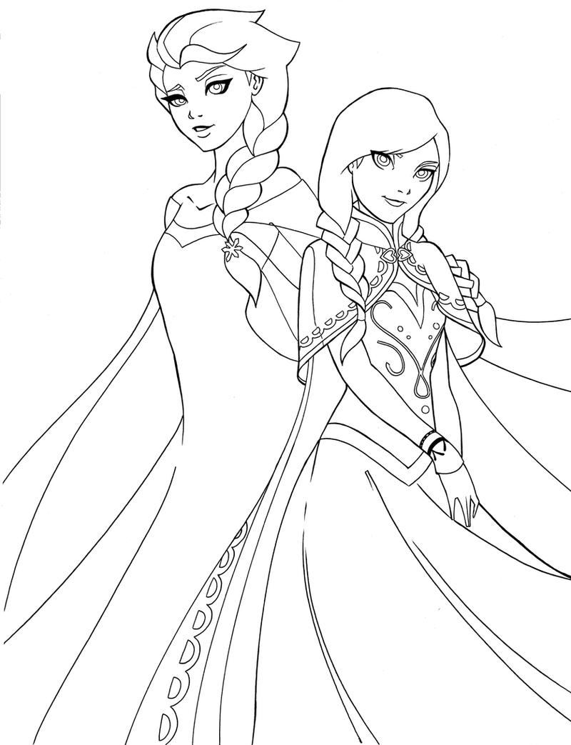 Elsa and anna by shakav088 on deviantart for Elsa and anna coloring page