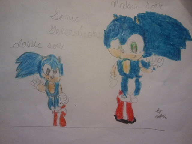 Sonic generations Classic Sonic and Modern Sonic by andresiito